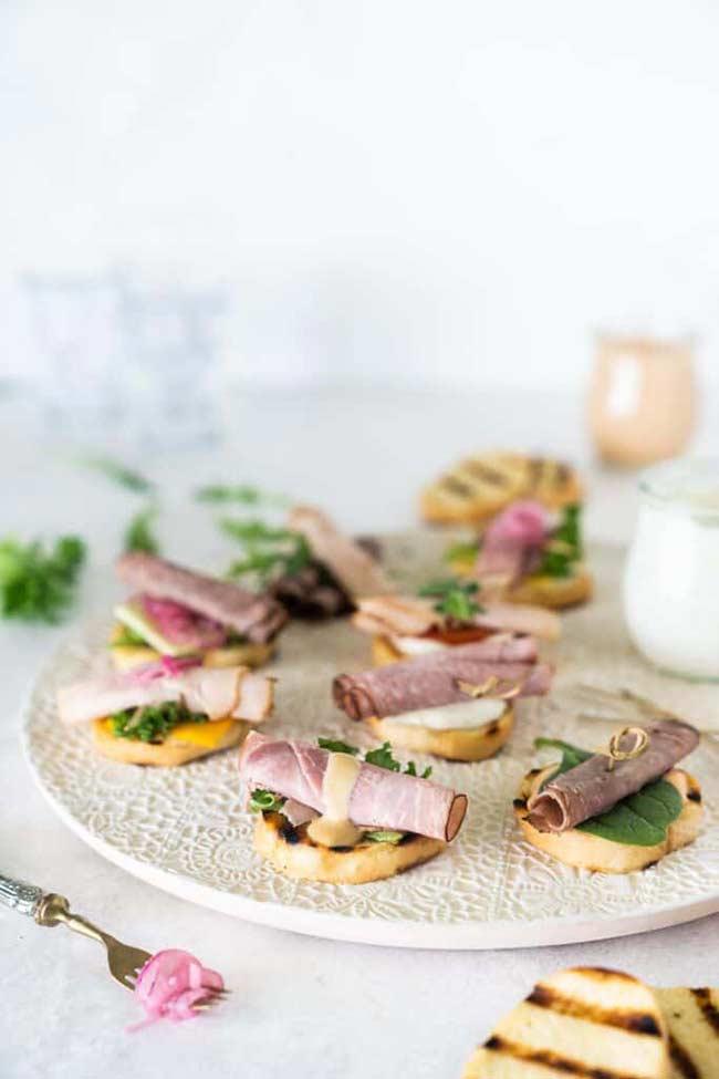 Easy Grilled Crostini Sandwich Bites