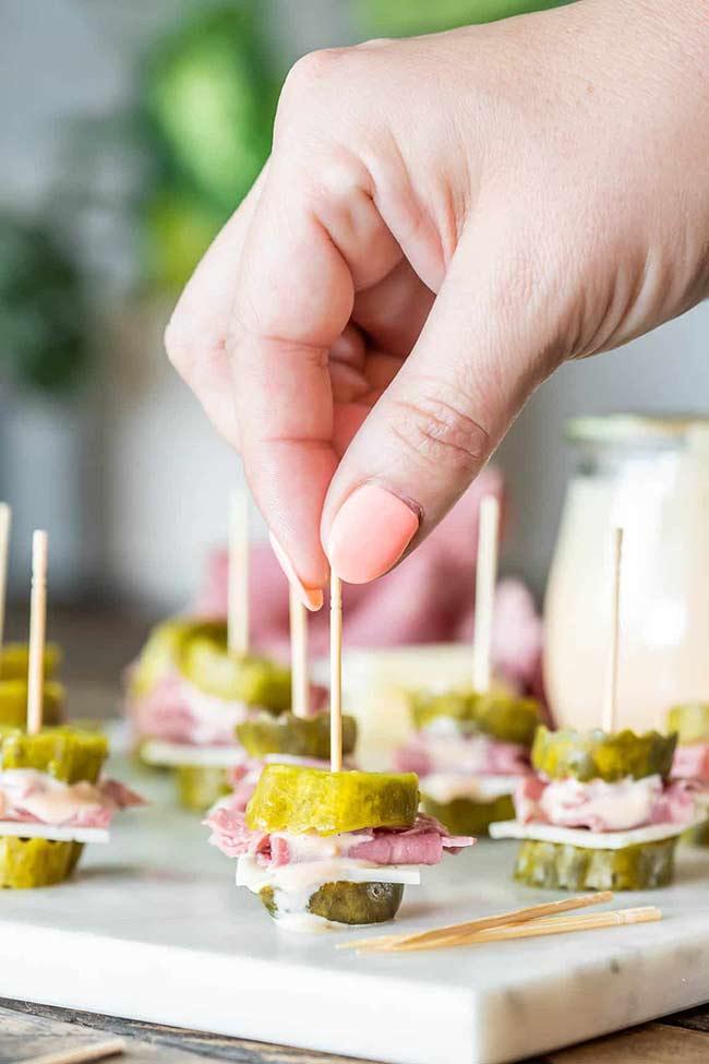 Keto Reuben Sandwich Pickle Bites