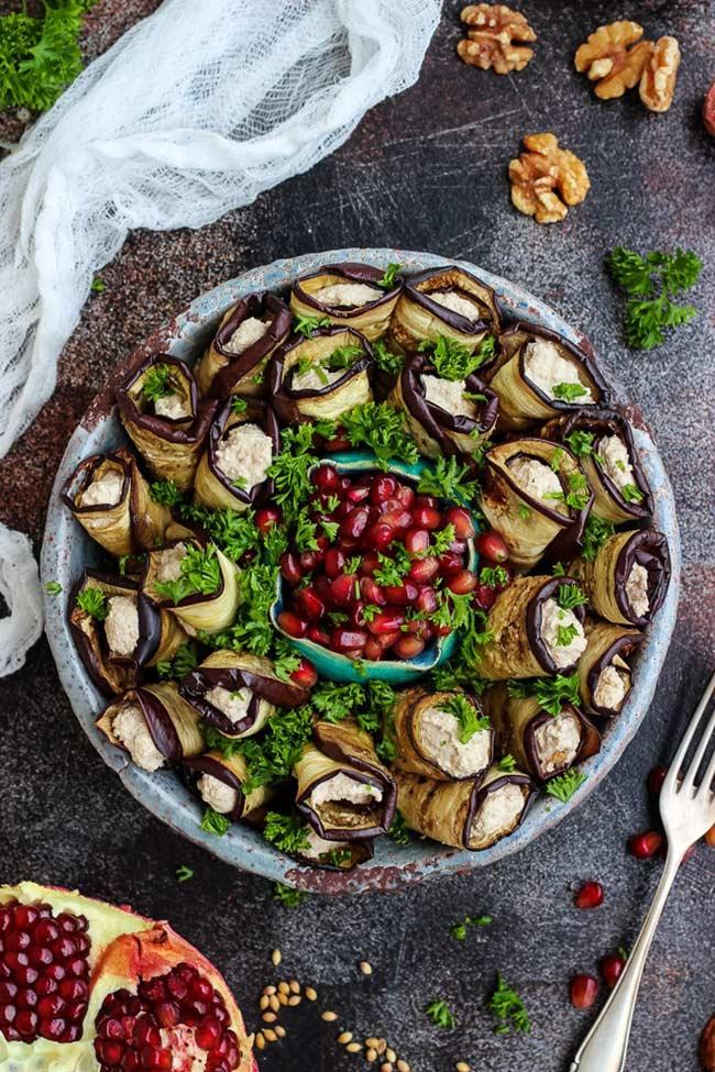 Georgian Eggplant Rolls with Walnuts