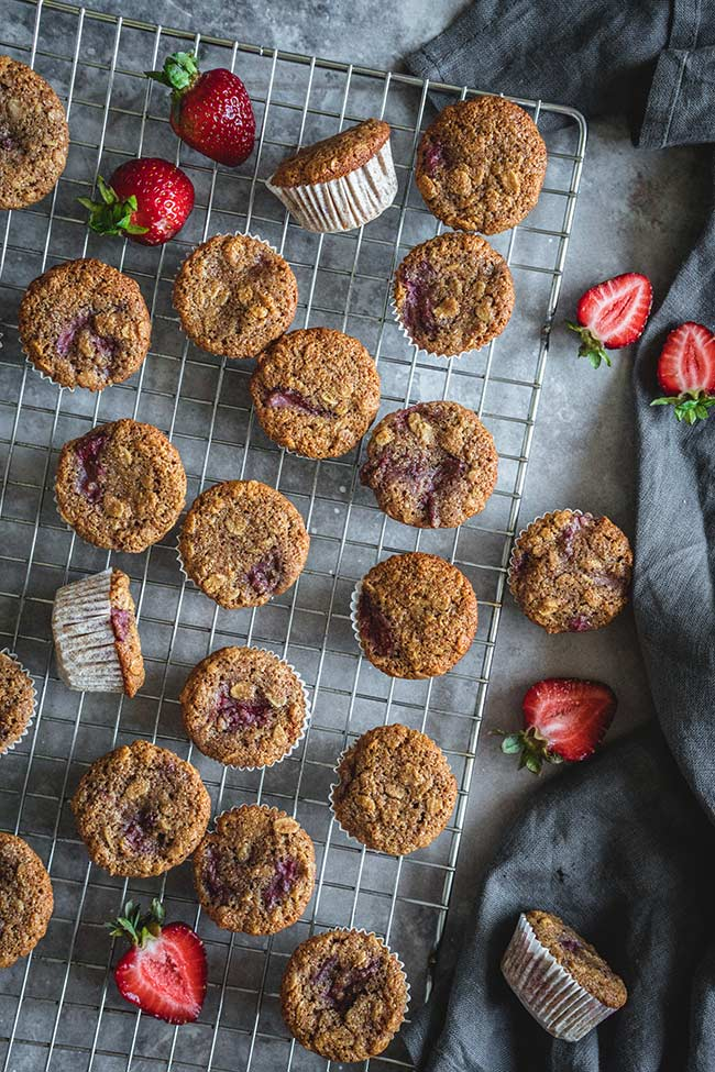 Healthy mini muffins on a cooling rack