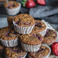 Healthy strawberry mini muffins