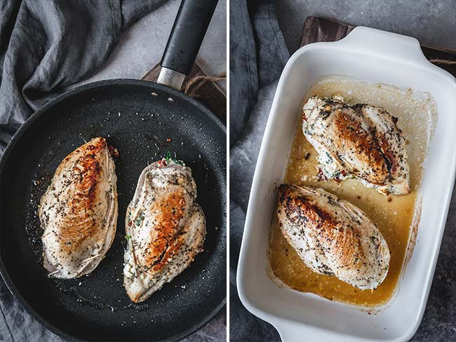 Browned chicken breasts overhead shot