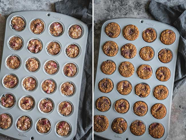 Baked mini muffins with strawberries