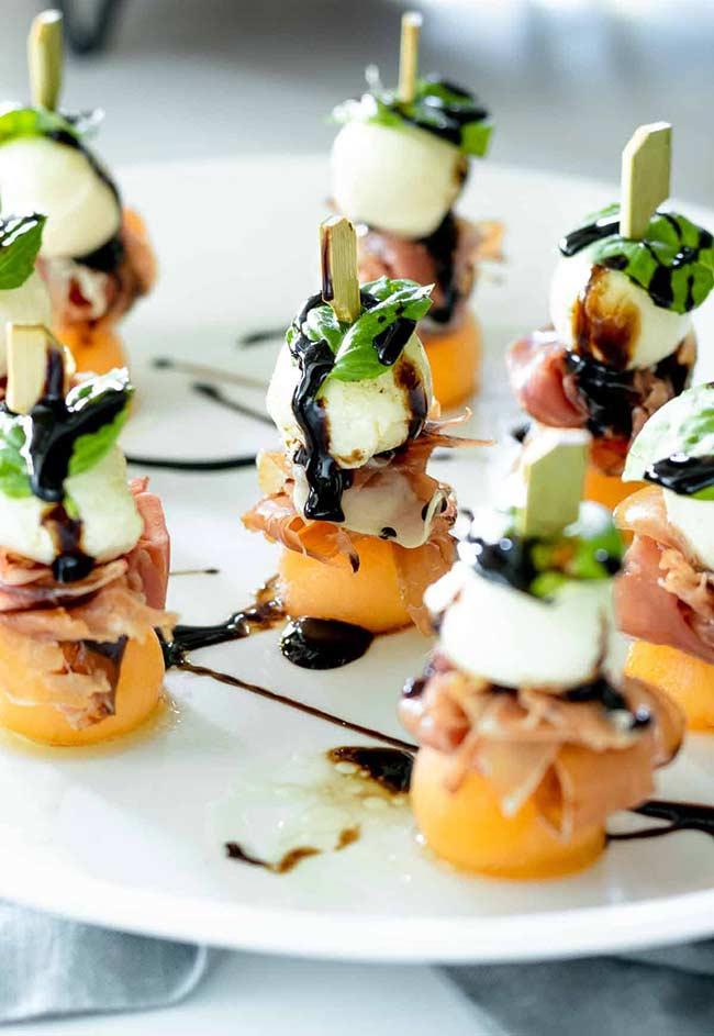 Prosciutto Melon & Mozzarella Skewers (w/ Balsamic Glaze)