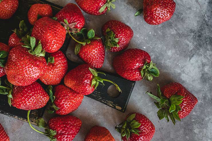 Fresh strawberries placed on the table