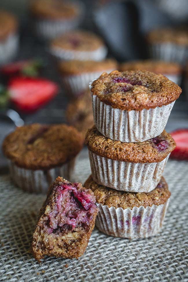 Healthy strawberry mini muffins made with whole wheat flour and oats