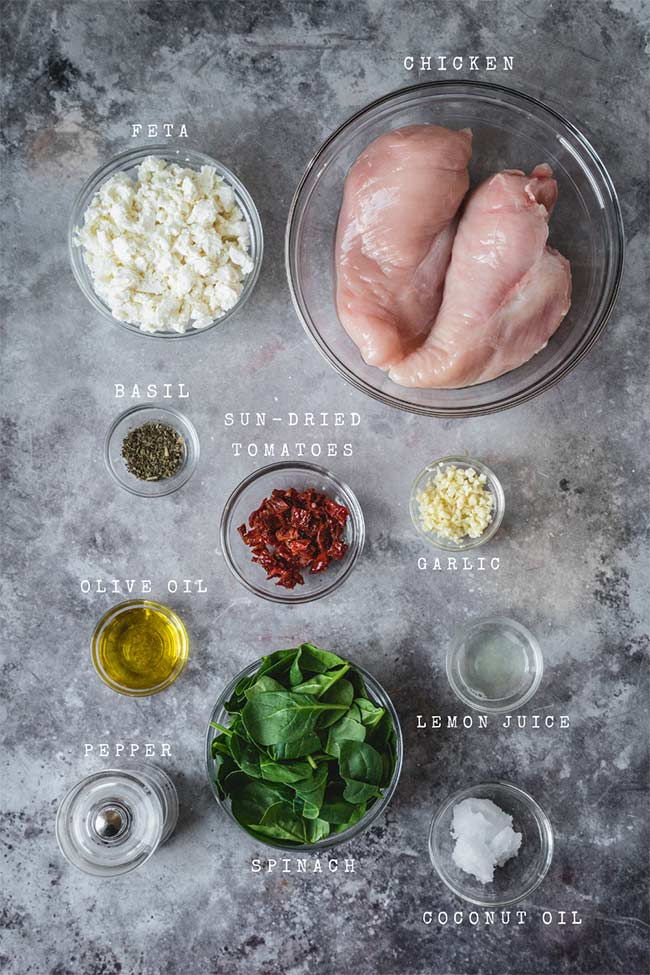 Ingredients for stuffed chicken breasts