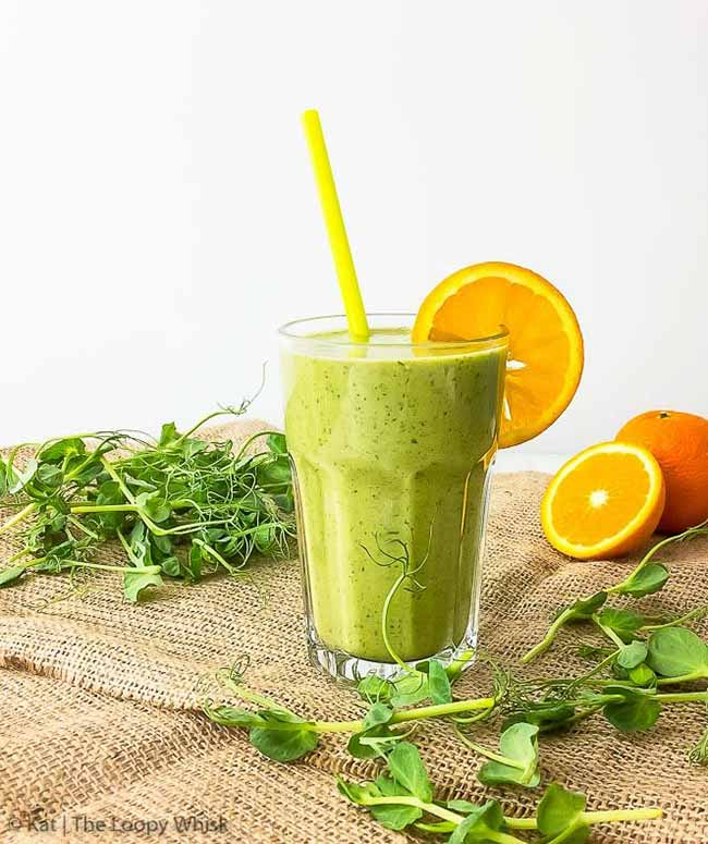 Spring Green Smoothie with Pea Shoots
