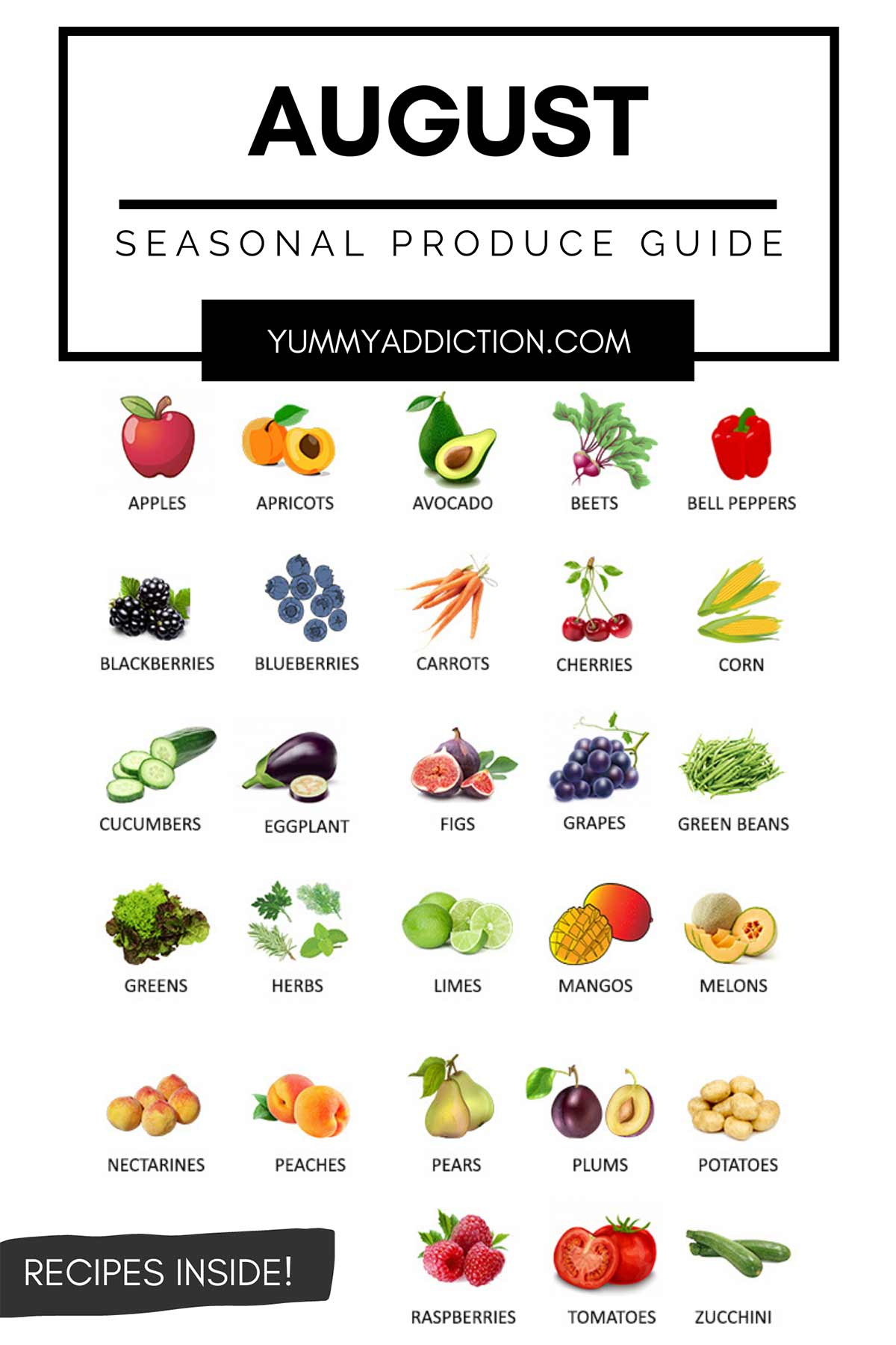 Vegetables and fruits in season in August