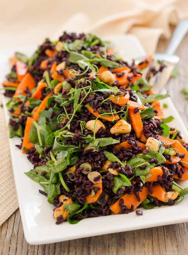 Black Rice and Pea Shoot Salad with Tamari Roasted Cashews