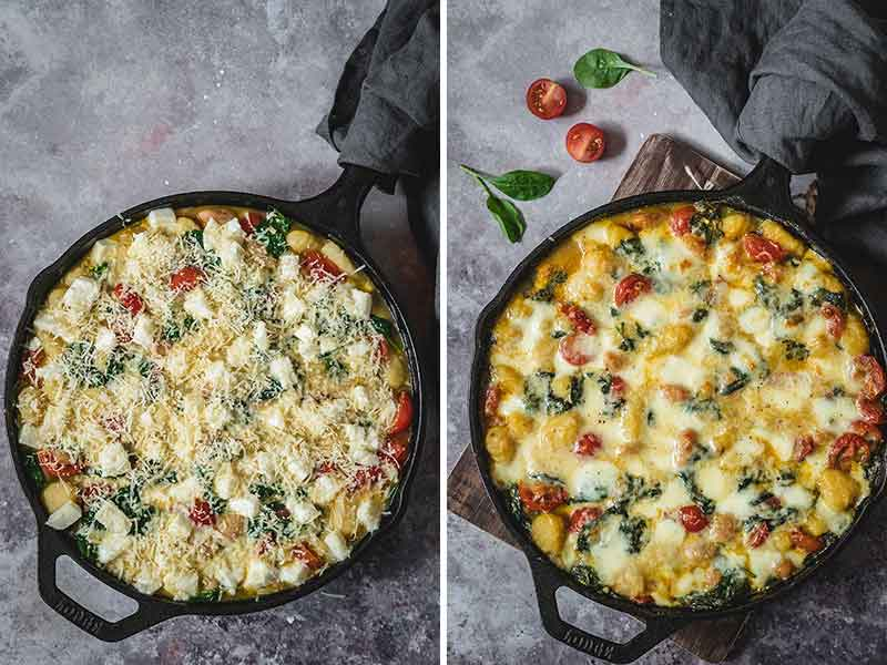 Gnocchi before and after baking overhead shot
