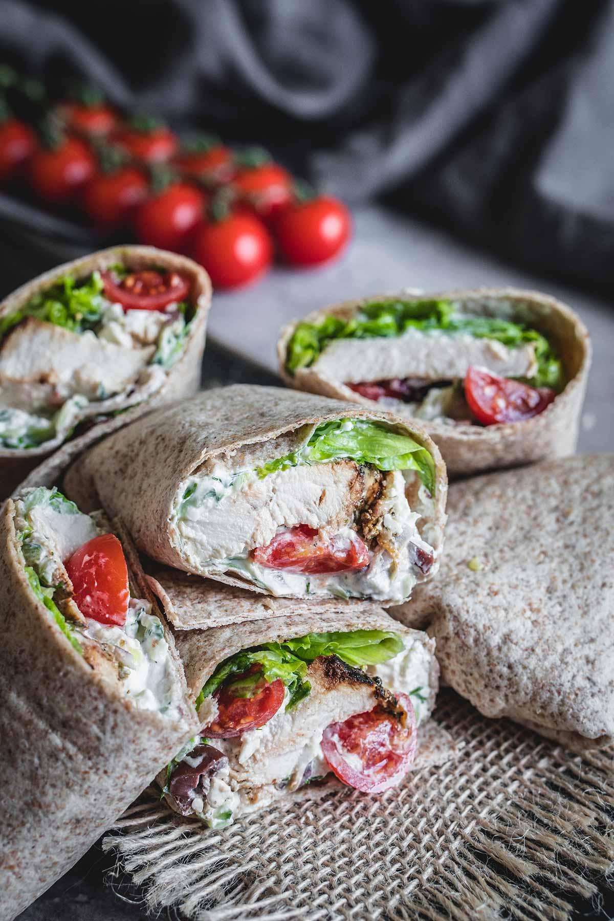 Greek inspired healthy chicken wraps with homemade tzatziki sauce