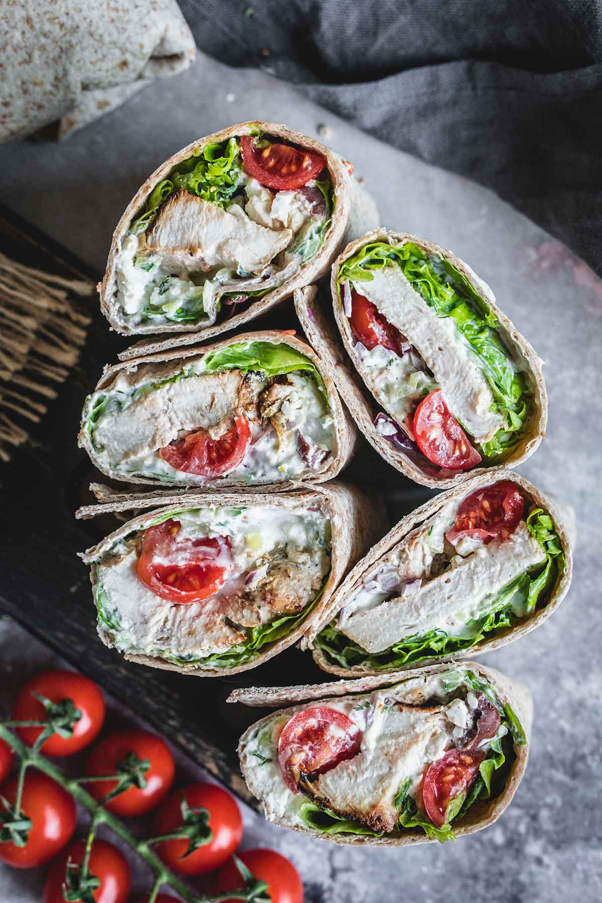 Healthy chicken wraps with homemade tzatziki sauce