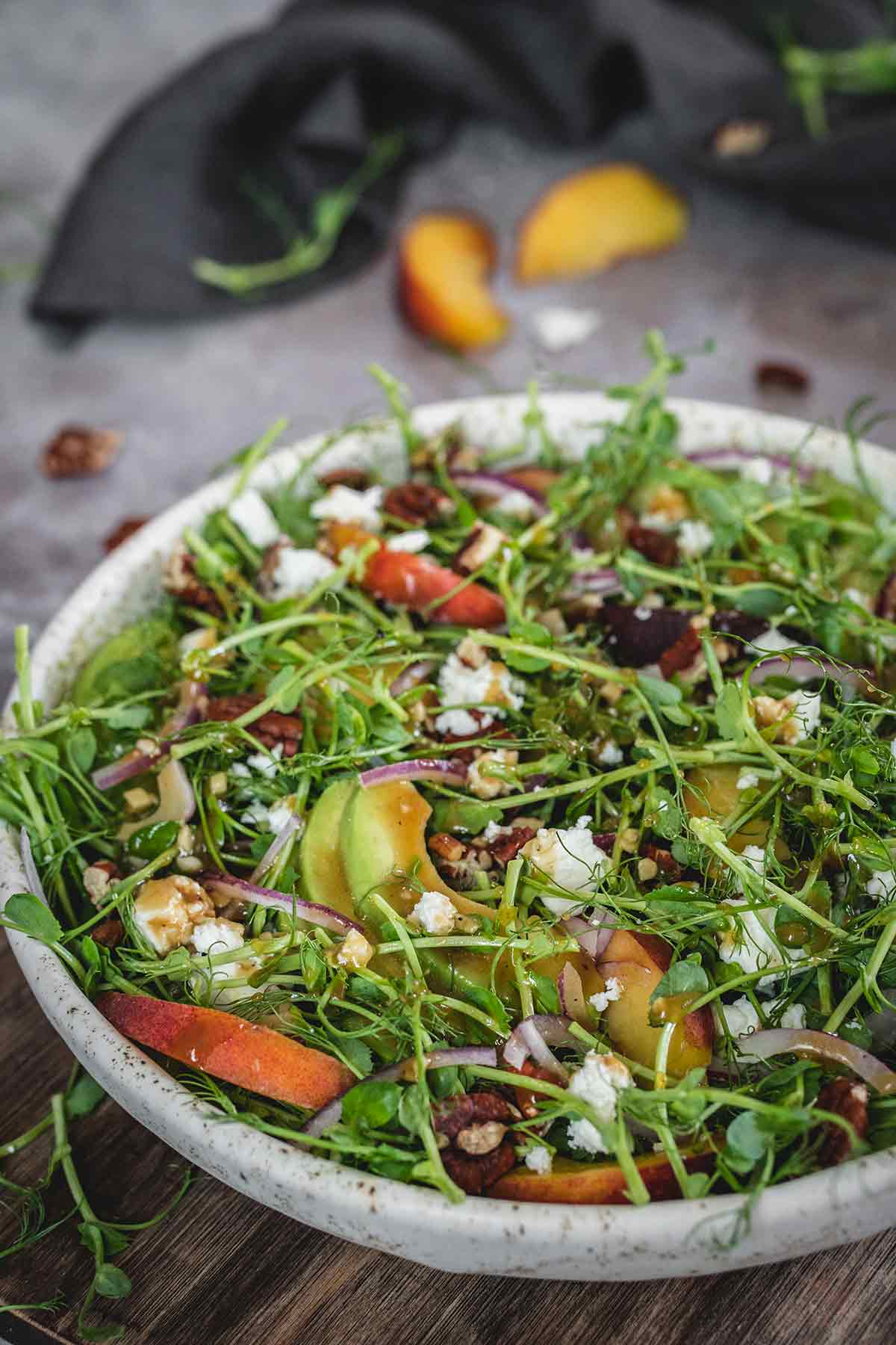 Healthy microgreen salad placed on the table
