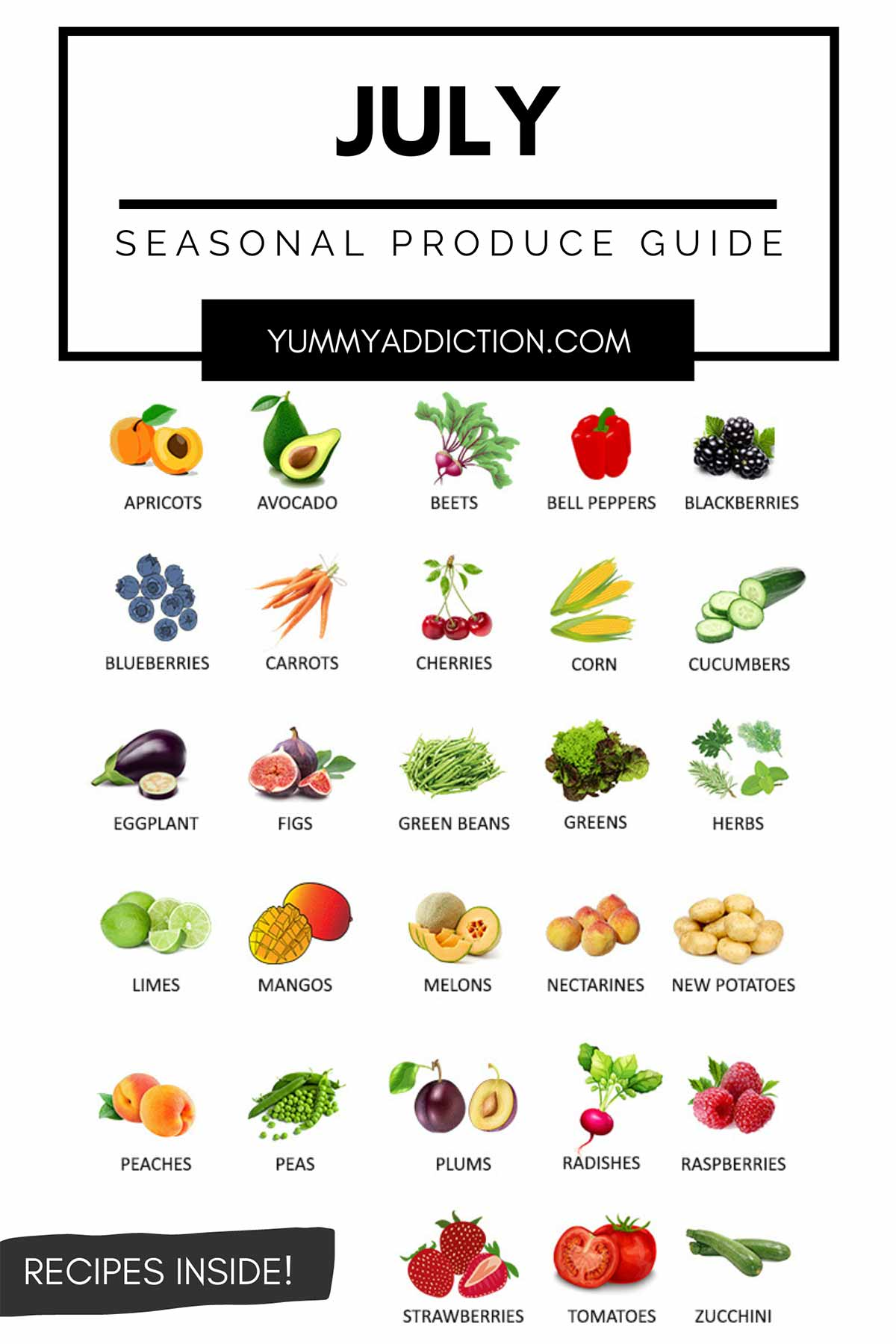 Vegetables and fruits in season in July