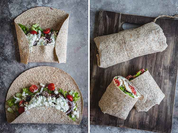 Process shots showing how to make healthy wraps