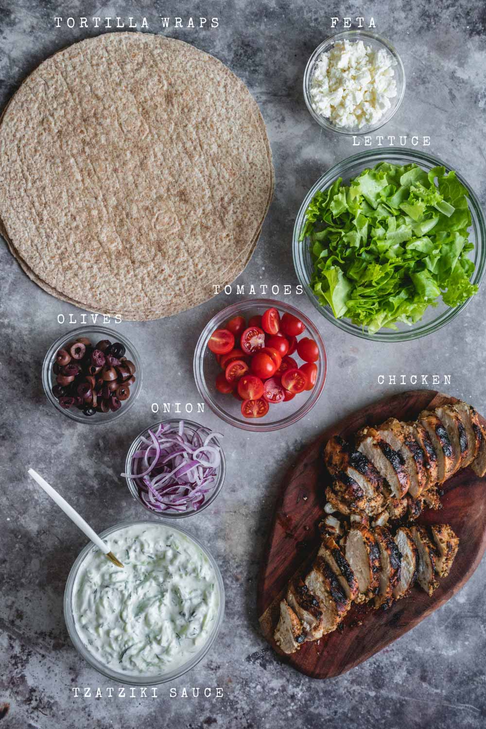 Ingredients of the wraps