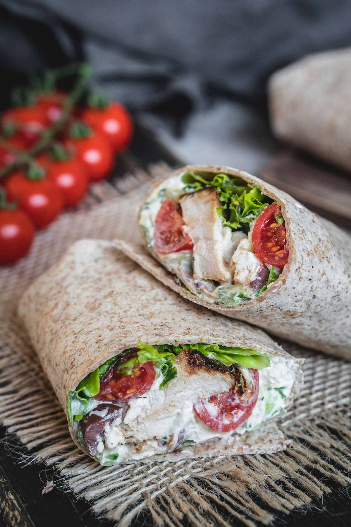 Greek style wraps made with chicken and tzatziki sauce