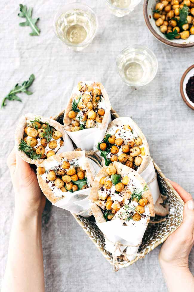 Roasted Chicken Pita Wraps with Crispy Chickpeas and Tzatziki