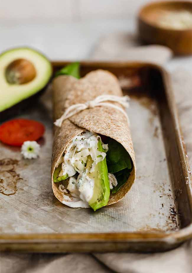 Healthy Chicken Wraps with Cilantro Lime Sauce