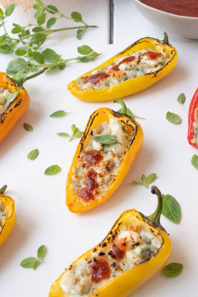 Spicy Blue Cheese Mini Sweet Peppers