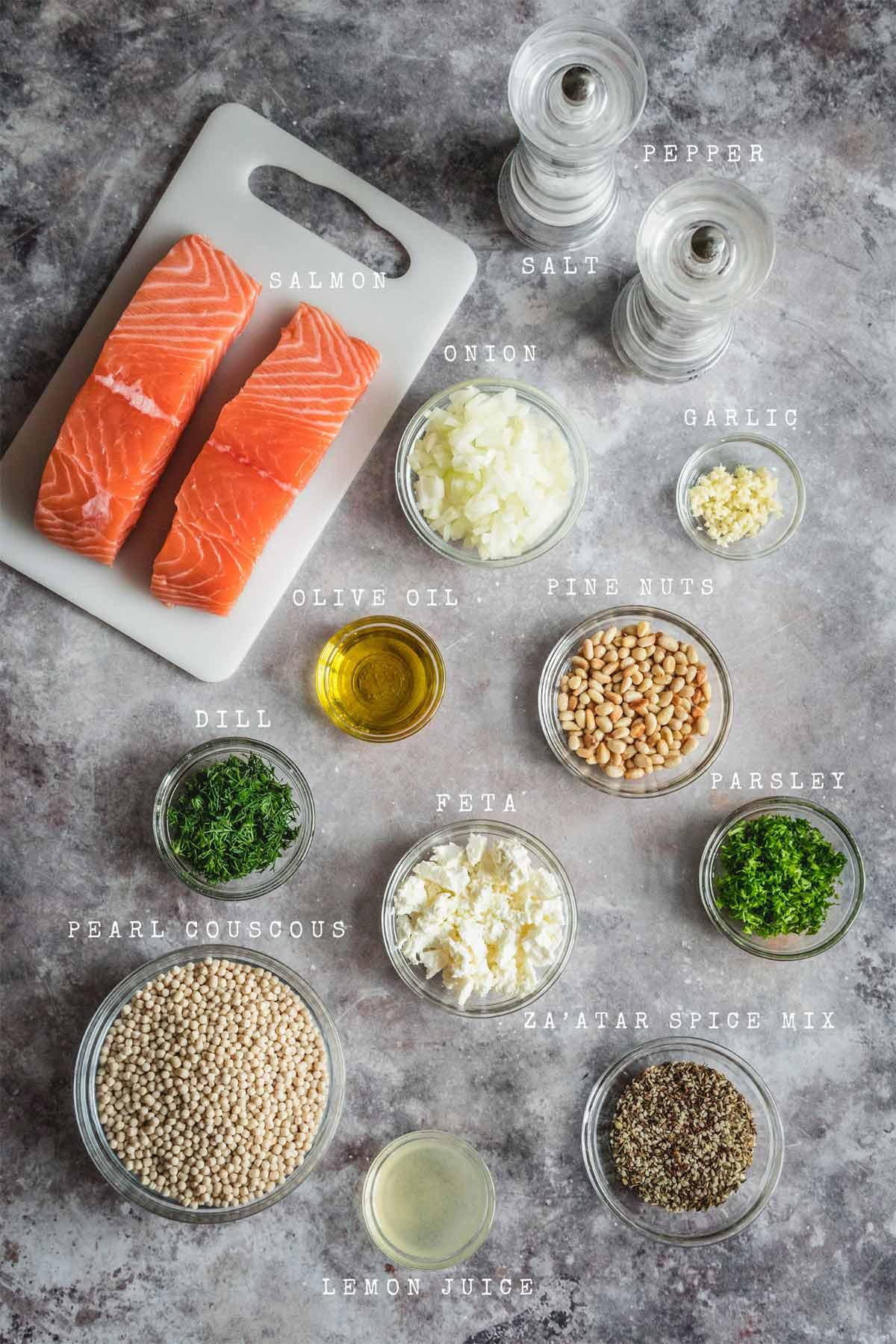 Ingredients of zaatar roasted salmon