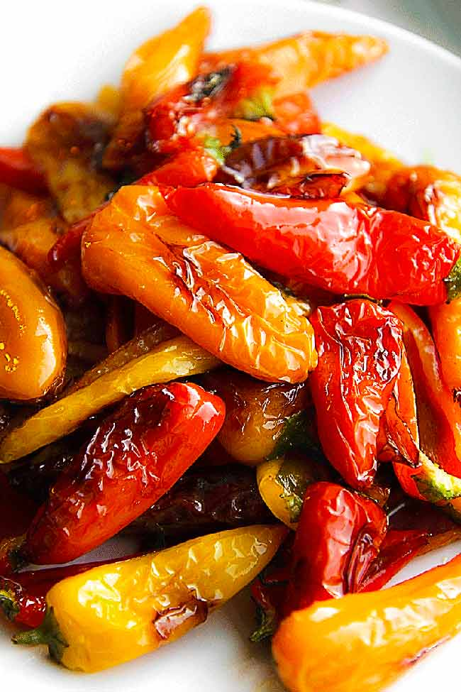 Pan Fried Sweet Mini Peppers With Basil