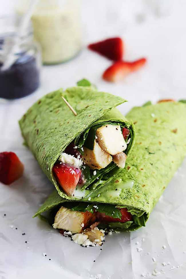 Strawberry Chicken Bacon & Spinach Wraps