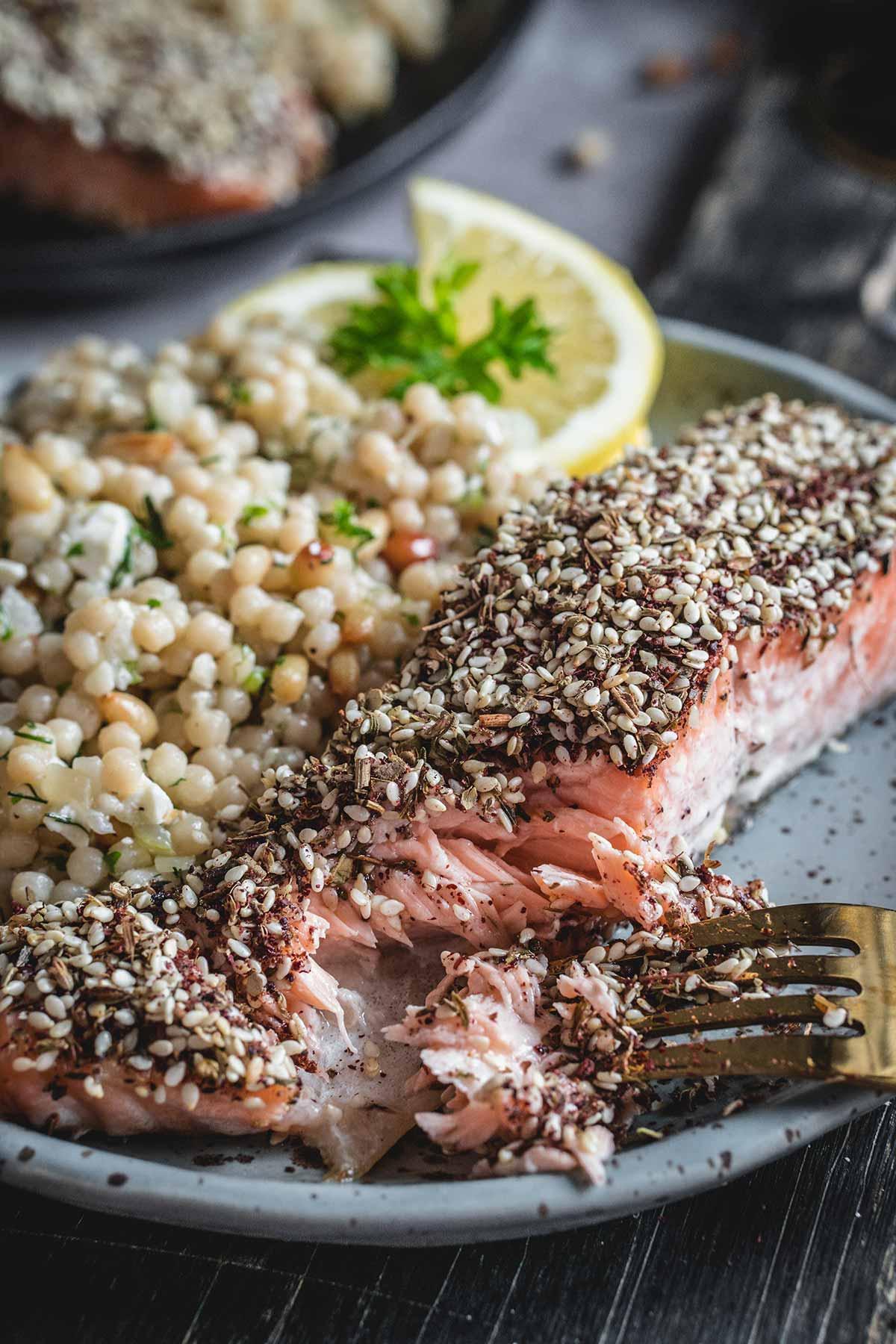 Zaatar roasted salmon with Israeli couscous