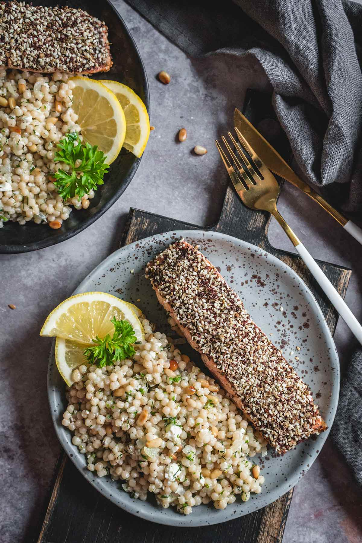 Zaatar salmon with pearl couscous